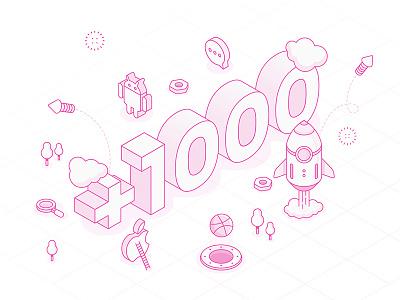 1000+ Followers   Thank You! follow illustration isometric thanks followers dribbble