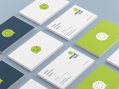 Social Kiwi Business Cards emoji stationery business cards marketing digital social fruit fresh logo kiwi