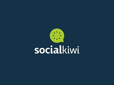 Social Kiwi Logo speech bubble marketing digital social fruit fresh logo kiwi