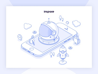 Inspace Illustration ios android apple space rocket helmet astronaut vector illustration