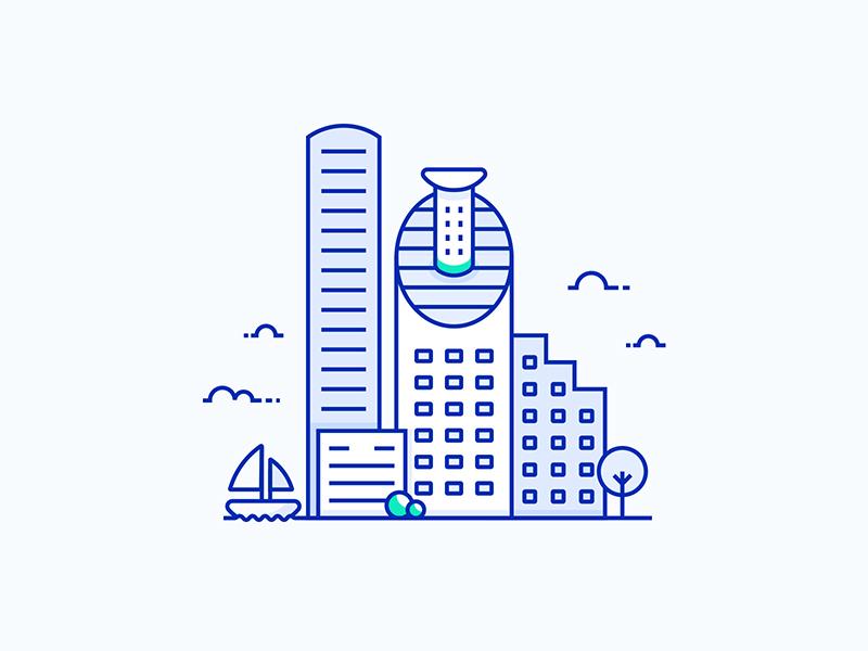 Tel-Aviv City Illustration israel clean lineart vector city illustration