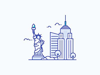 New York City Illustration illustration art vector statue america usa ny illustration city