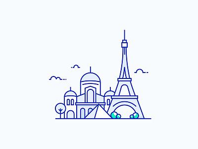 Paris City Illustration illustration vector tower eiffel france town city paris