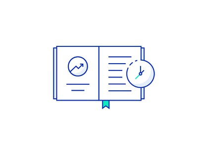 Book Illustration icon vector illustrations lineart journal growth chart clock stories share