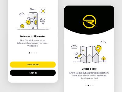 Ridemaker App map ride bike illustration app ui ios mobile