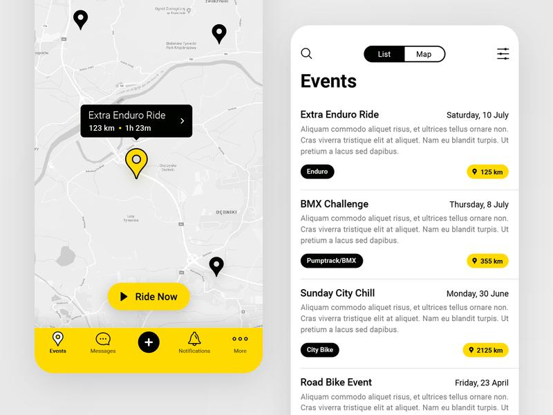 Ridemaker App ios bike ride event map ui app mobile illustration