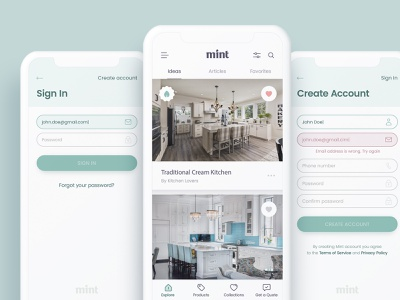 Mint - Home Design, Ideabook App Concept ux ui ios mobile icon illustration furniture app ideabook home design house home