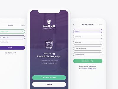 Football Challenge App ux ui ios mobile icon logo illustration design ball football app soccer football