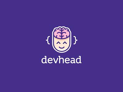 Devhead logo emoji face head brain icon vector branding logo code dev developer