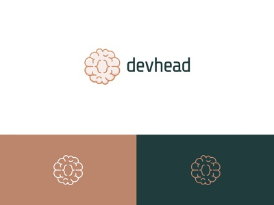 Devhead logo branding logo linear brackets brain code dev developer