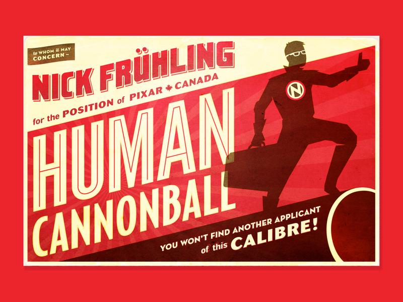 Human Cannonball pixar duke caboom job application video viral canada stuntman human cannonball design postcard