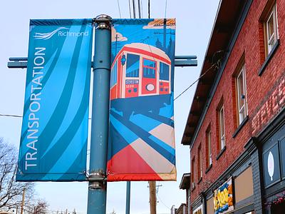 Steveston Tram Banner travel poster city branding civic pride tram streetcar steveston richmond art banner design banner illustration design