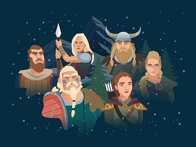Viking 'Thank you for your purchase' Screen scandinavian scandinavia nordic vector design blue illustration illustrator dark warriors viking vikings