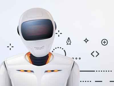 Would you like to talk about our lord and saviour AI? machine android robot glyphs icons attentive listening chatbot chat orange grey bot