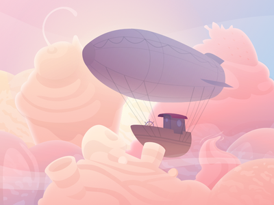 Sweet Clouds little prince animation sunrise sunset sky flying shapes clouds dream fly