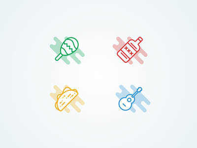 Mexican Outlined Icons orange gree blue four set icons flat outline taco maraca tequila mexican