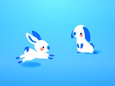 Chinese Rabbits running play playing rabbits cute pink blue vector chinese