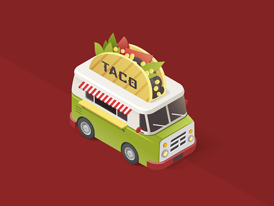 Taco Van meal van tacos flat outline taco maraca tequila mexican