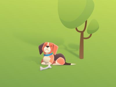 Happy Days illustration green long shadow park tree kawai smiling bone happy dog