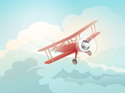 The Little Prince's Biplane flight flying sunrise dreamy little prince vector clouds love plane