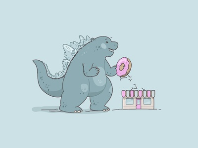 Hungry Zilla illustrations eating happy cafe pink mock japanese dragon godzilla donut sweet tooth