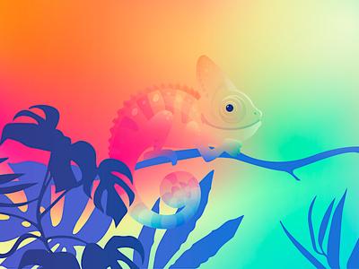 Chameleon blending sunset branch blue cone gradient chameleon creature