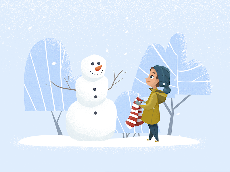 Snowman texture trees blue white red scarf girl lady coming winter snowman