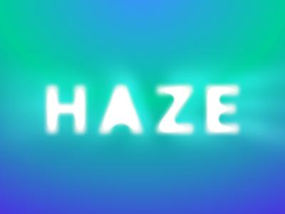 Hazy Logo blue green bright experiments typography letters light halo haze hazy