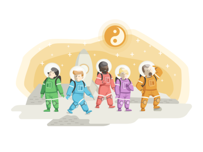 Karmabot Onboarding Welcome Screen crew spaceship mars space nice welcome illustration onboarding