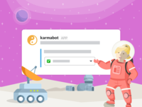 Karmabot Slack Store onboarding illustration welcome nice space mars spaceship crew
