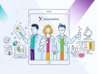 Genomelink Promo Image colourful bright thin line science traits dna genetics genome