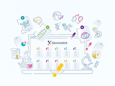 Genomelink Illustration art line traits lab illustration icons science genome dna