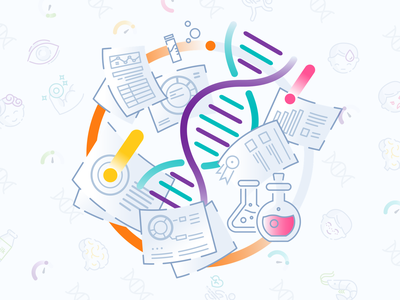 Genomelink Graphics laboratory bio research graphics illustration lines spiral lab science icons genome dna