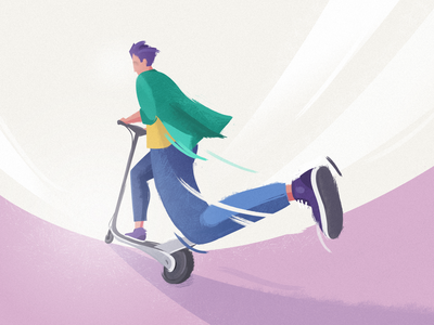 🛴 Scootering to work pov stylized illustration urban city riding scootering electric scooter