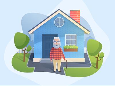 Grumpy Grandpa Character design illustration sketch colour vector vector illustration character design character blue house oldman grand grandparents