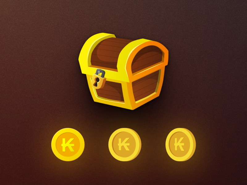 Karma Coins icons currency mobile store in-app store in-app purchasing in-app k lock locked bitcoin coinbase treasure coins chest karmabot karma illustration