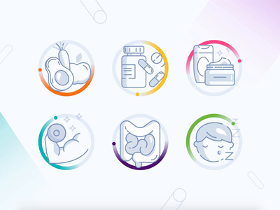 Genomelink Traits Categories Icons line light medical remedy sleep medicine pills fruits arm power guts healthcare health traits animation icons