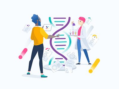 Genomelink Science Team at Research Lab vector design icons blue genomelink modern light biology genomics genome dna healthcare medical illustration lab research