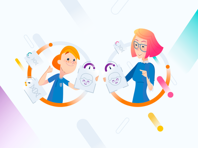 Genomelink Mother and Child Illustration Similar Traits smiling happy branding circles vector icons genome genomics biology traits illustration girl boy child mom mother