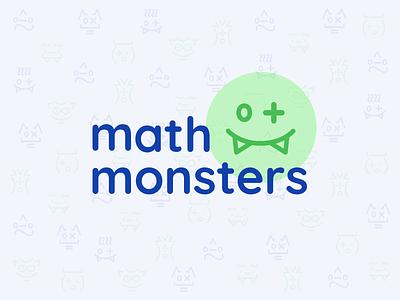 Math Monsters Kids Game Animated Logo multiplication plus signs webdsite kids game monster math vector design animation icons ui blue sketch illustration logo