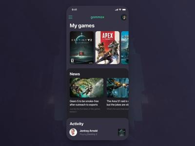 Gammax eSports App Dark Mode Interface