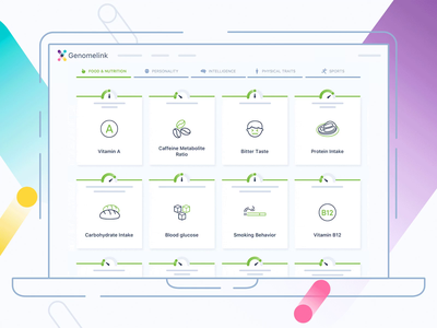 Genomelink Landing Page Onboarding Animation healthcare medical personal traits cards features animation design landing intro animation illustration genome dna