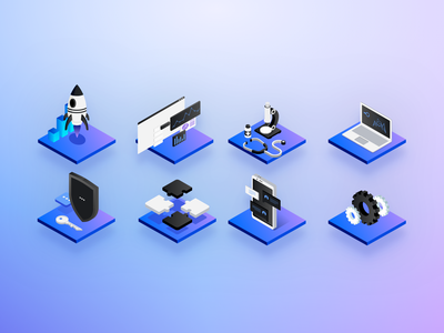 Isometric Cloud Server-less Icons puzzle mobile security rocket gears laptop microscope black gray grey violet magenta blue illustrations icons 3d isometric
