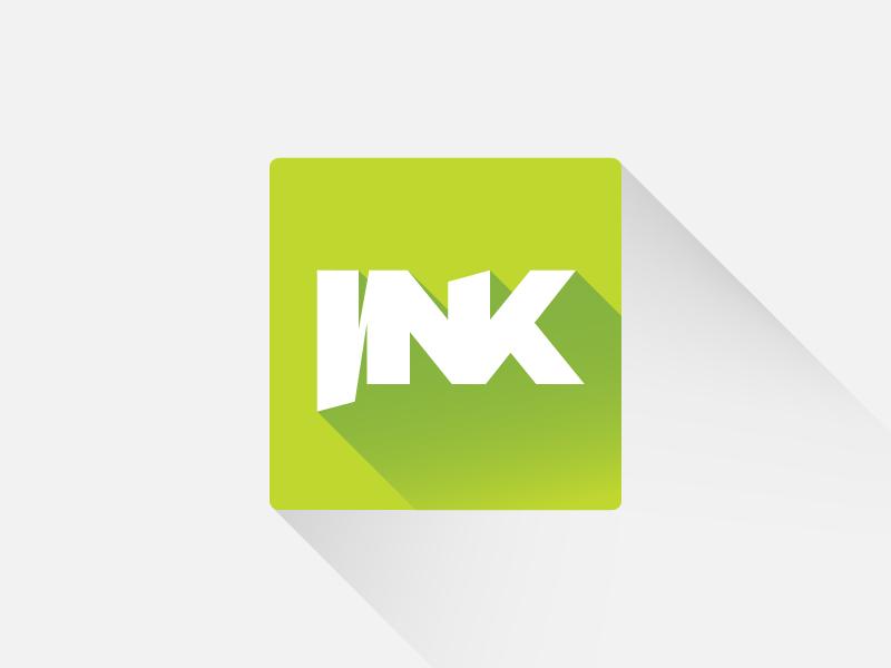 Ink long shadow flat vector logo logo design studio