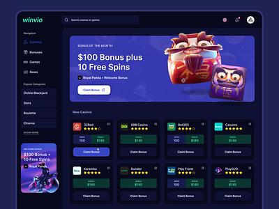 Casino Affiliate Website bonus affiliate marketing affiliate casino slots casino online gambling betting web ux minimal ui