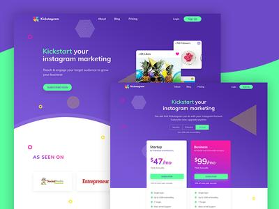 Instagram Marketing Website web ux ui typography minimal homepage clean startup smooth vivid promo landing