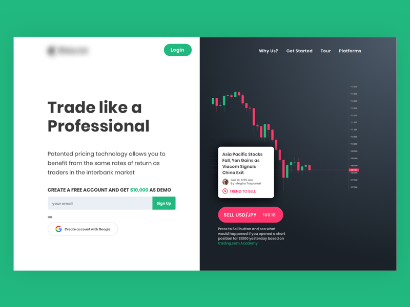 Trading Platform Landing Page minimal ux ui bitcoin finance cryptocurrency web trading
