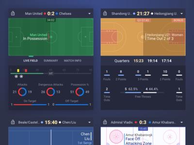 Sport Live Results Widget chart dark soccer basketball football bet gambling gaming betting sport