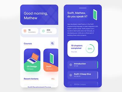 Courses Mobile App courses chart minimal modern ui ux mobile education