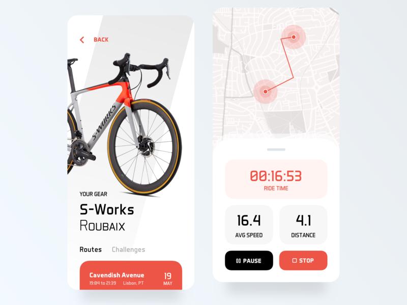 Bike App ui ui ux minimal mobile sport fitness bike bike ride speed speedometer ride app timer